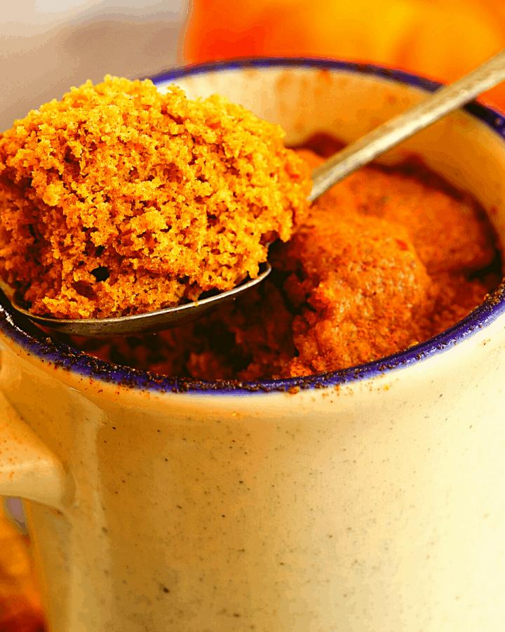 Keto Pumpkin Spice Mug Cake recipe low carb gluten free