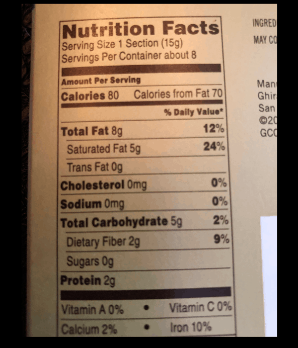 Ghirardelli Nutrition facts