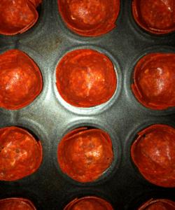 pepperoni in muffin pan