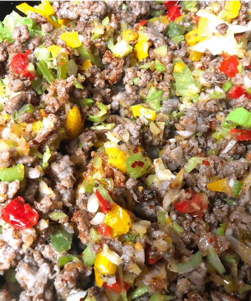 cauliflower dirty rice cooking