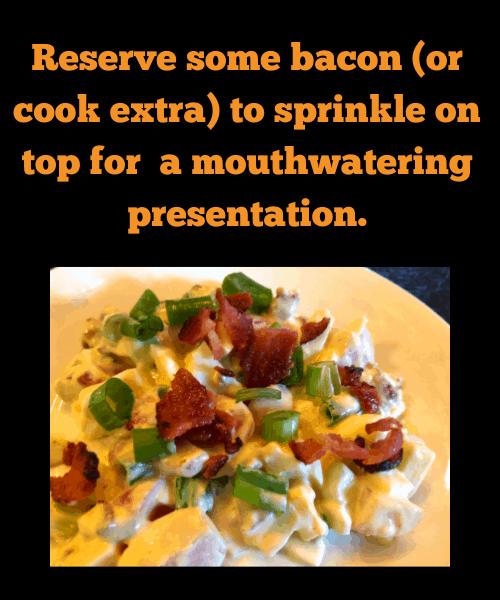 Presentation of faux-tato salad
