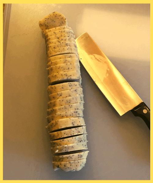 4 Keto Lemon Poppy Seed Shortbread Cookies slicing