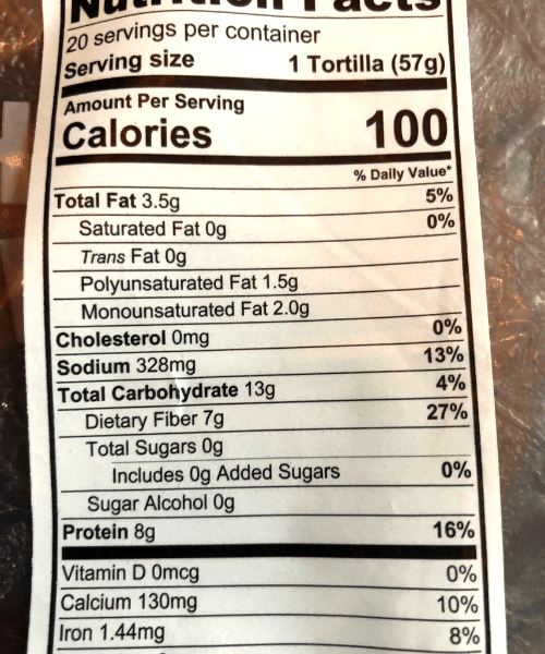 Low carb tortilla nutrition