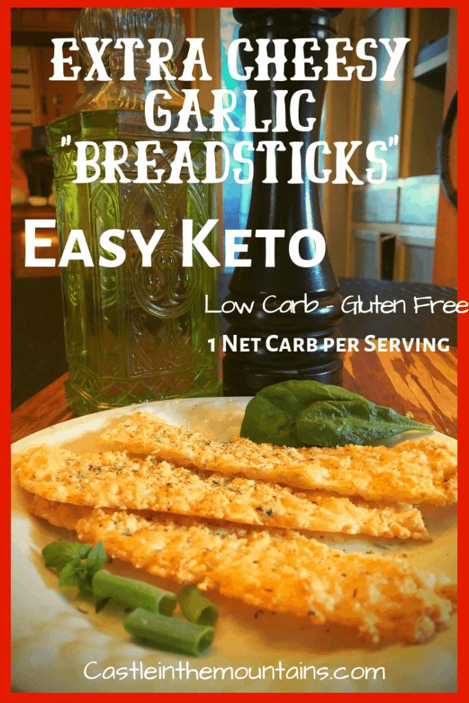 Keto Extra Cheesy Garlic Breadsticks easy low carb recipe
