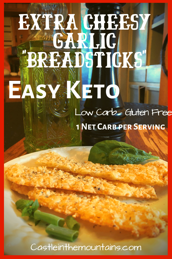Keto Extra Cheesy Garlic Breadsticks