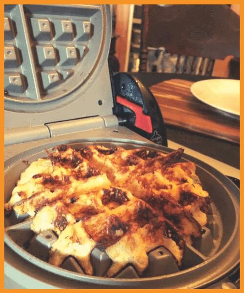 Keto Pumpkin Spice Chaffle in Waffle Iron Chaffle maker