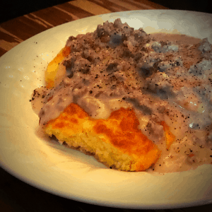 Keto Biscuits & Gravy recipe low carb gluten free breakfast
