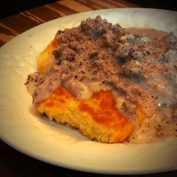 Keto Biscuits & Gravy recipe low carb gluten free breakfast