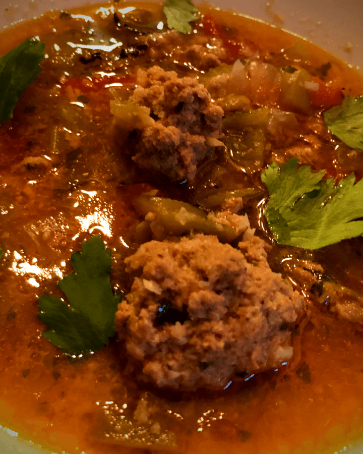 Keto Mexican Meatball Soup recipe gluten free low carb