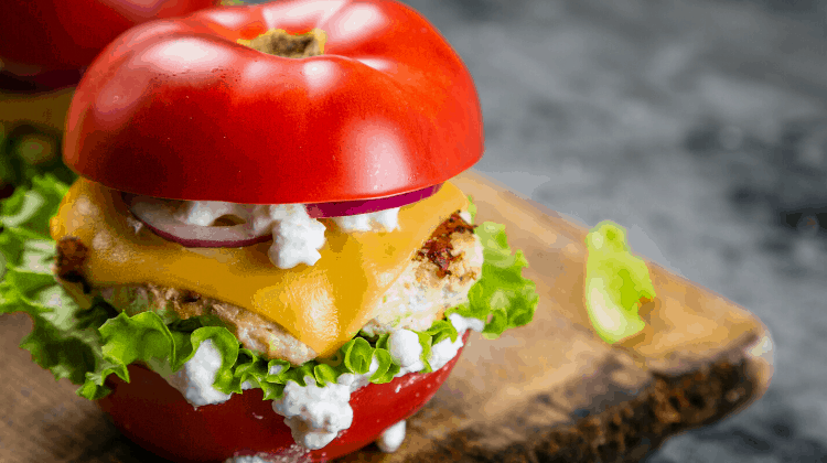 Simple Keto Snacks- tomato sandwich