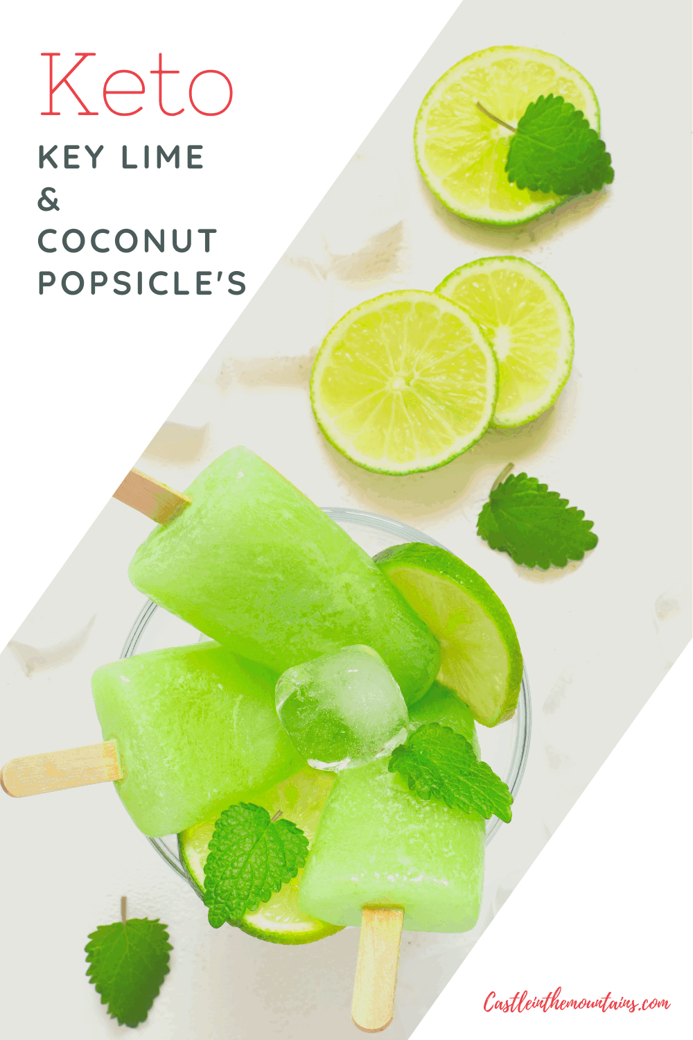 Keto Key Lime Coconut Popsicles