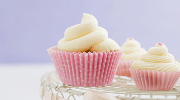Keto Vanilla Cupcakes Frosted
