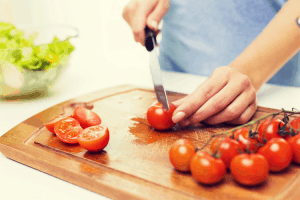 Greek Salad-chopping veggies