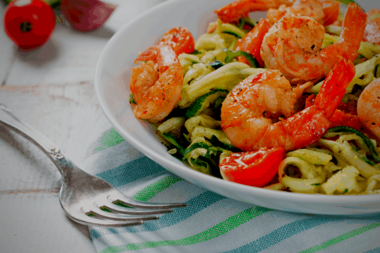 served shrimp and zoodles