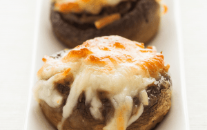 Broiled and served stuffed mushrooms