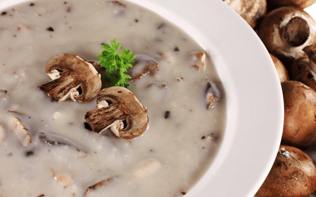 Served Low Carb Cream of Mushroom Soup