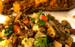 Served low carb vegetable holiday stuffing