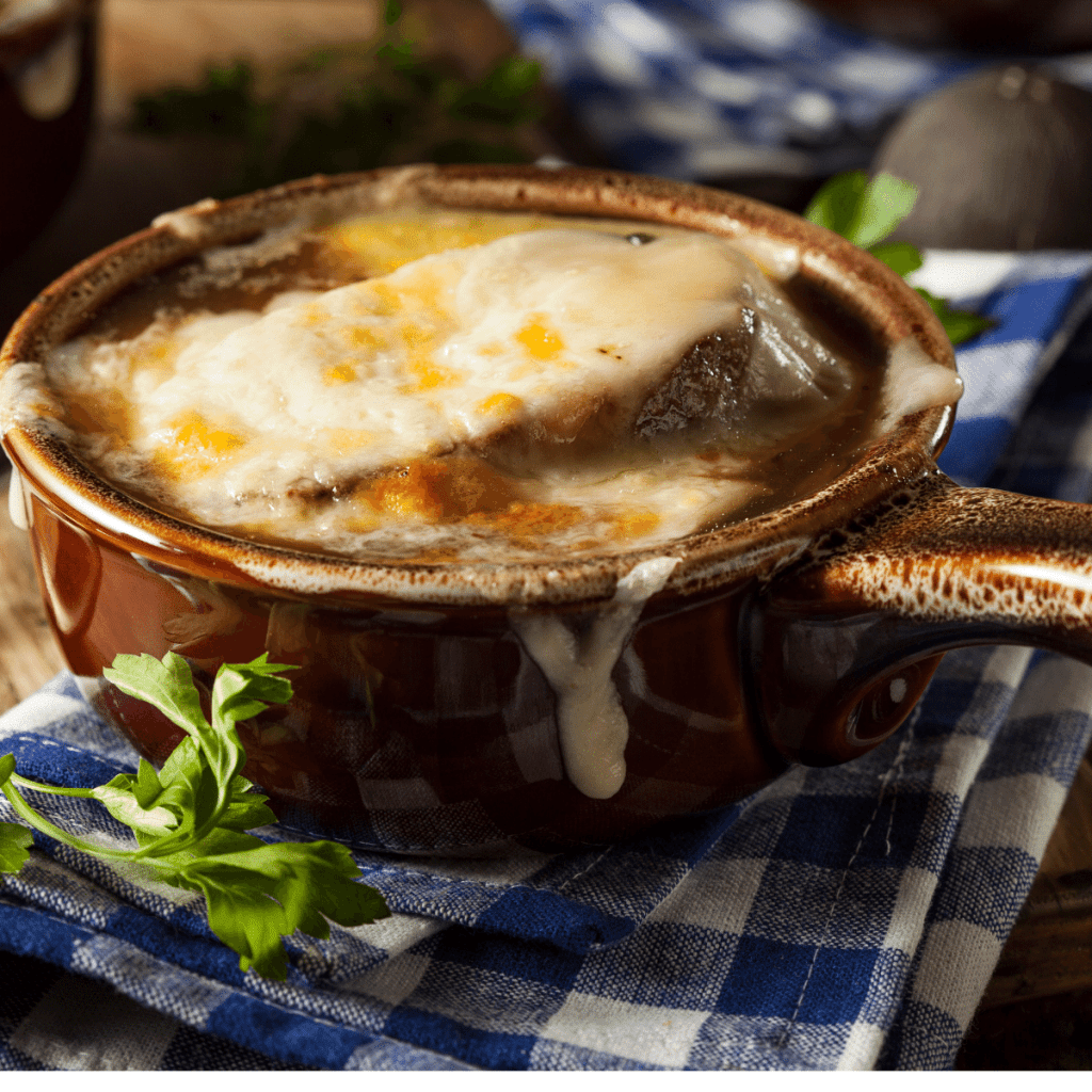 Served Healthy French Onion Soup