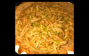 Grated apples in pie crust