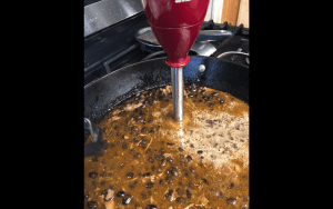Immersion blender to blend up the beans