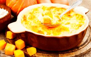 Casserole dish with pumkin souffle