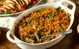 Served Low Carb Green Bean Casserole