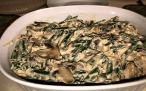 Green Bean Casserole in the prepared baking dish