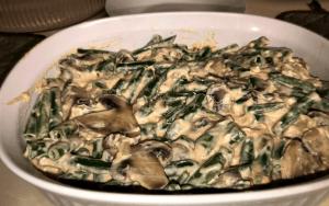 Green Bean Casserole in the prepared baking dish