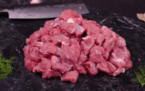 Cut and cubed lamb