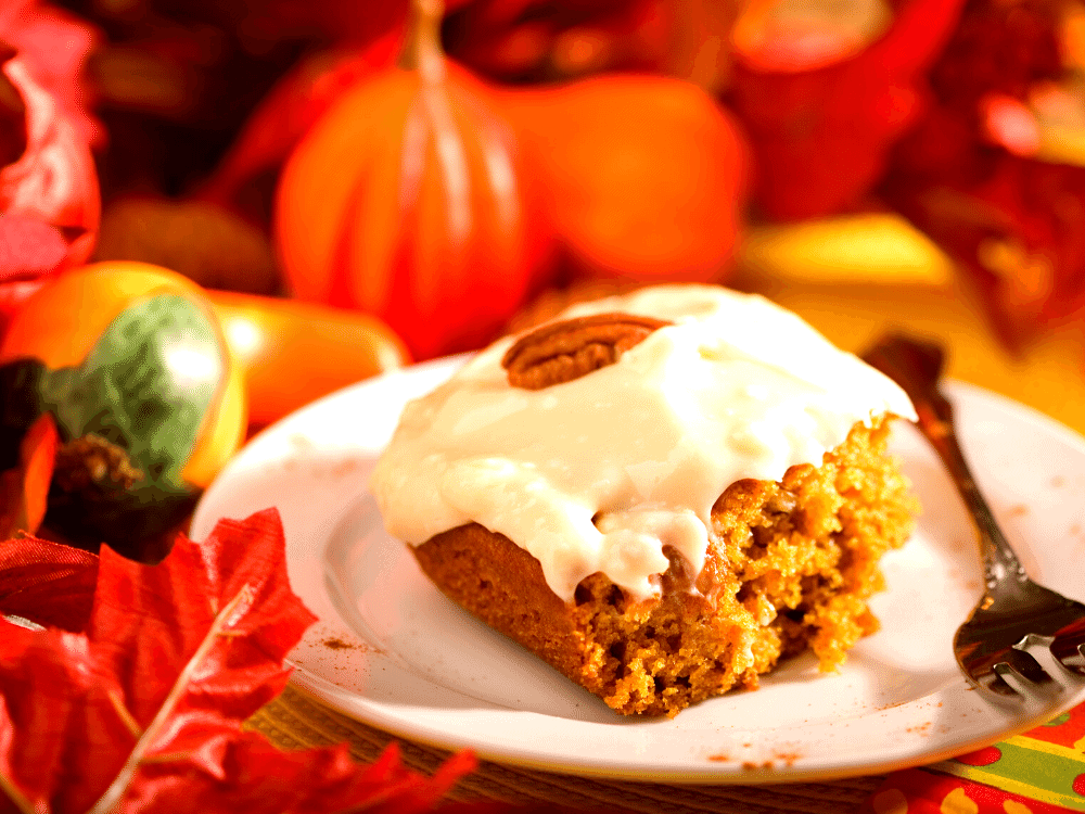 Low Carb Pumpkin Cake Served