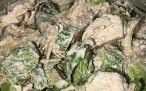 Folding Brussels Sprouts into the cheese mix