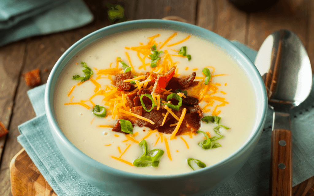 Served Low Carb Loaded Cauliflower Soup with Bacon