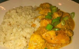 Served Low Carb Butter Chicken with cauliflower rice