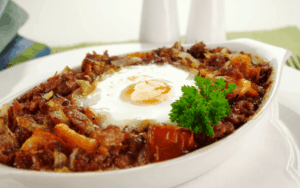 Served Low Carb Corned Beef Hash with an egg