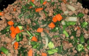 Frying ground beef and veggies