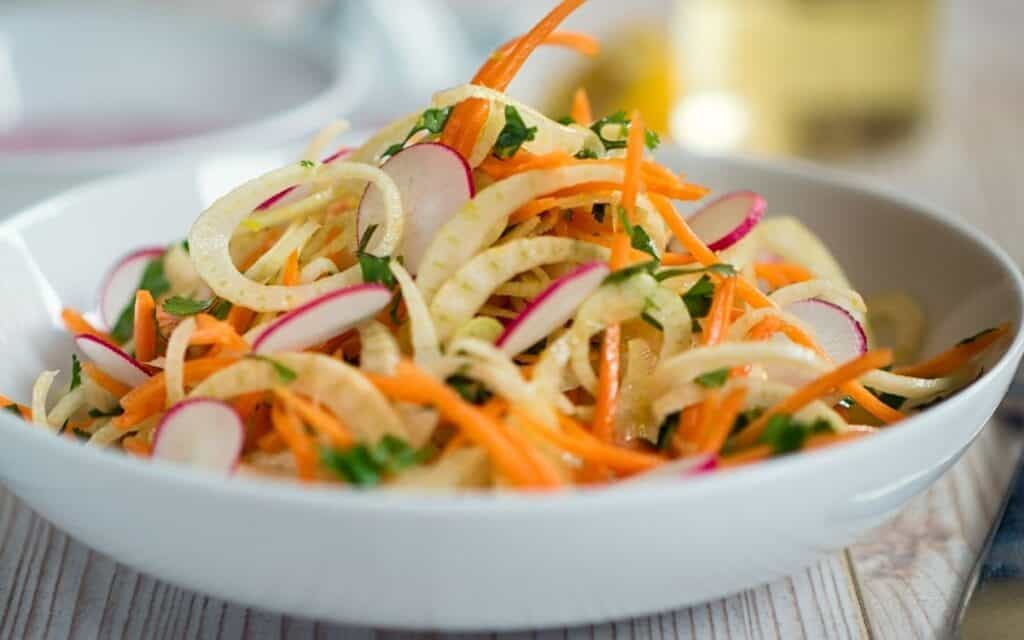 Served Low Carb Cabbage and fennel salad