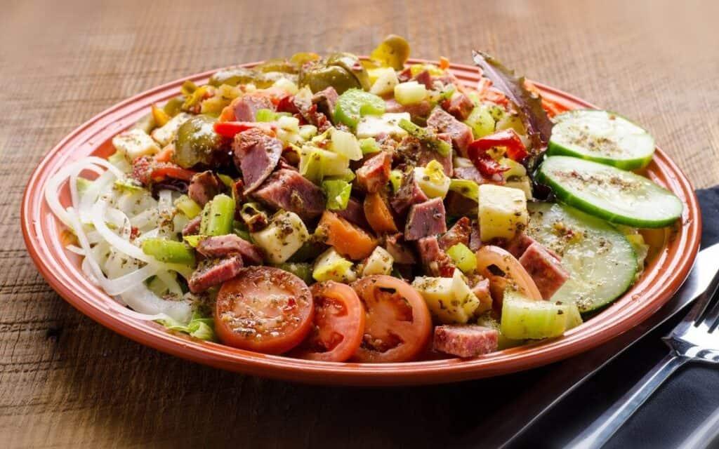 Served Low Carb Antipasto Salad