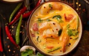 Served Thai Coconut Shrimp Curry
