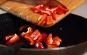 Frying bell pepper