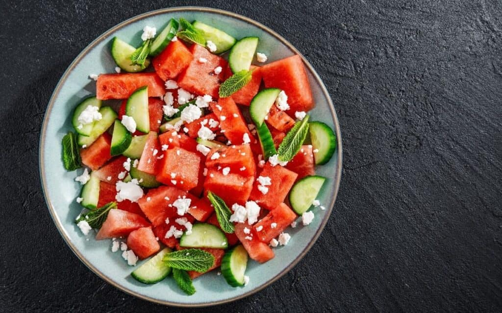 Low Carb Watermelon Salad Served
