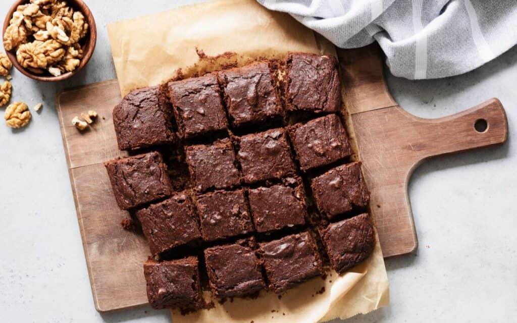 Keto Coconut Flour Brownies on a cutting board