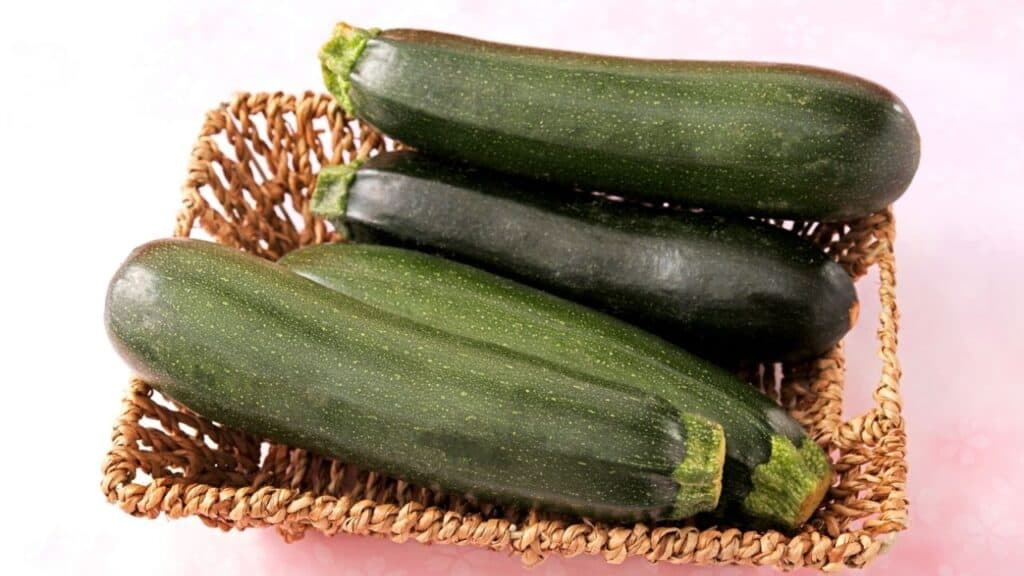 Fresh zucchini in a basket