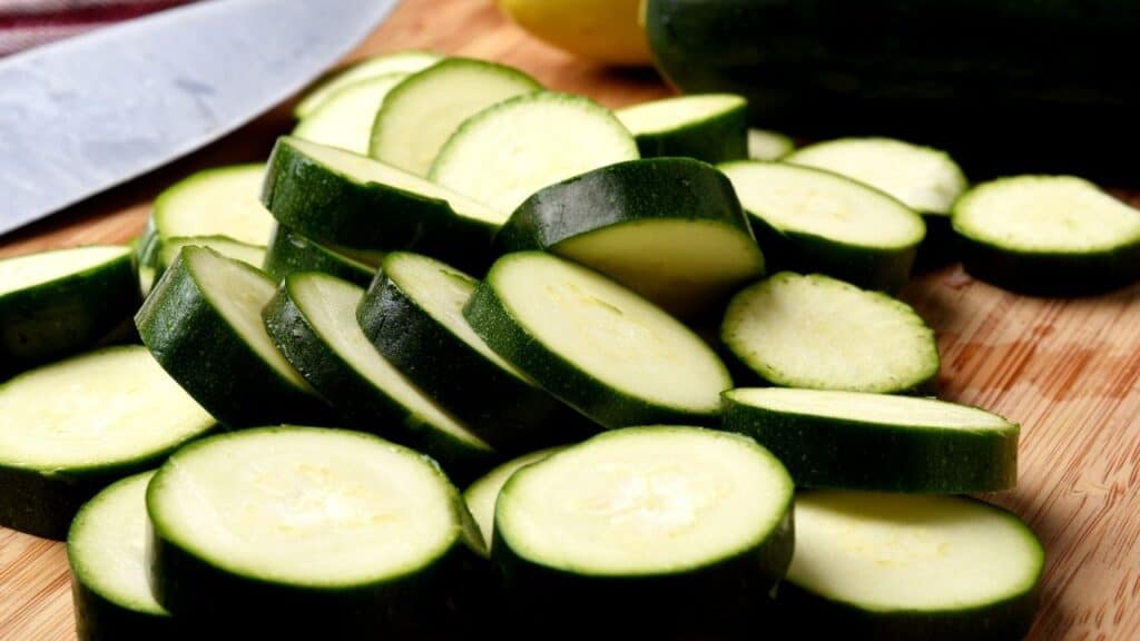 Sliced zucchini coins for instructions