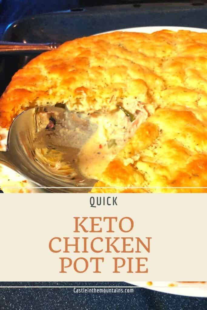 Golden Keto Chicken Pot Pie with a slice in it