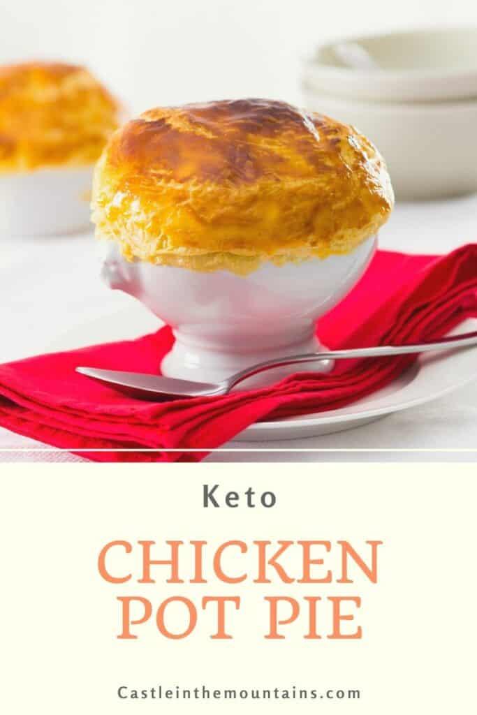 Keto Chicken Pot Pie in a white ramekin